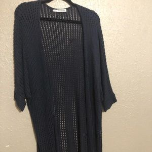 Maurices 2/3 Crochet, Short Sleeve Navy Duster
